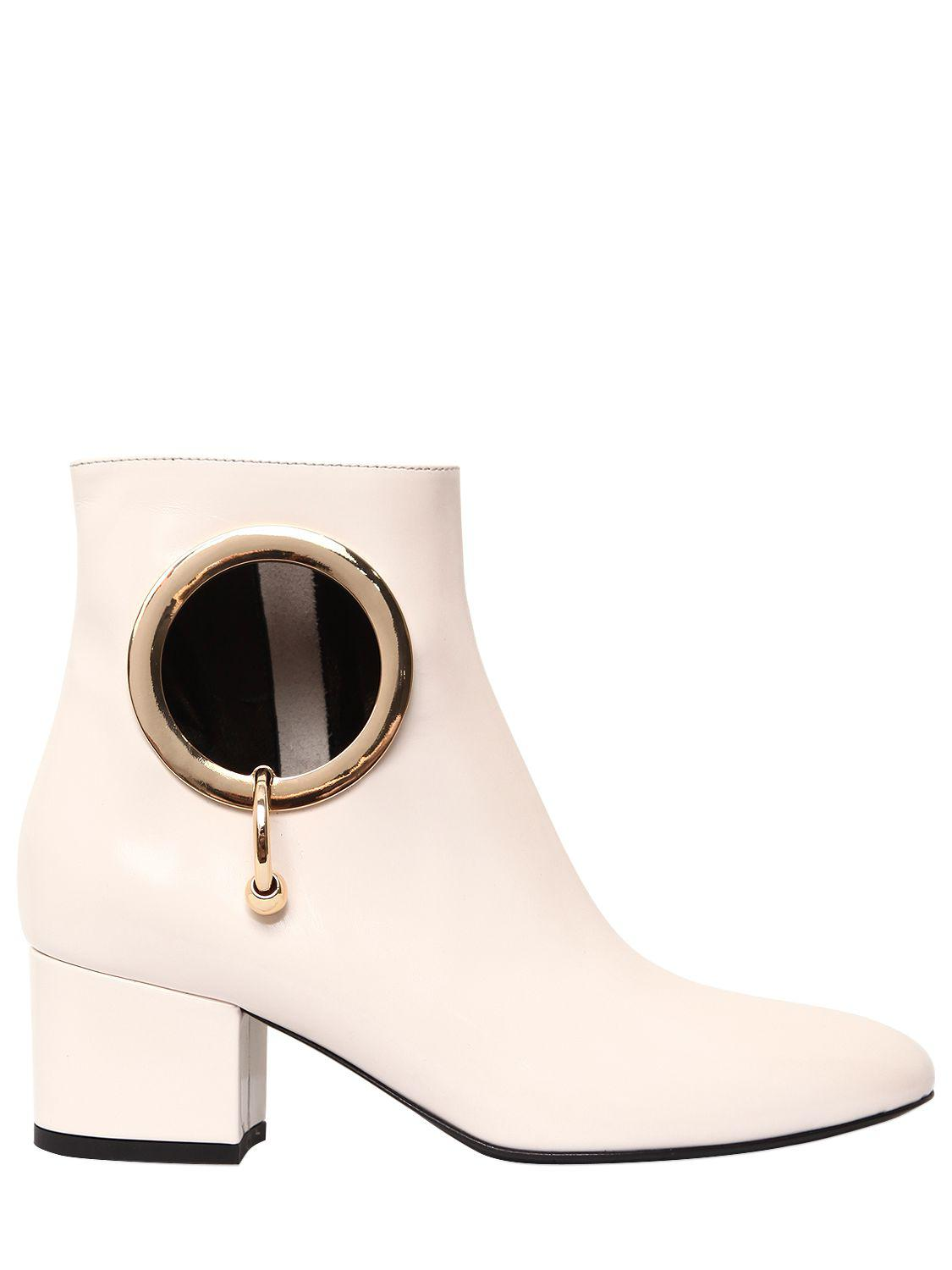 COLIAC 55MM ALICE CUTOUT LEATHER ANKLE BOOTS 5Q5kH97Gs
