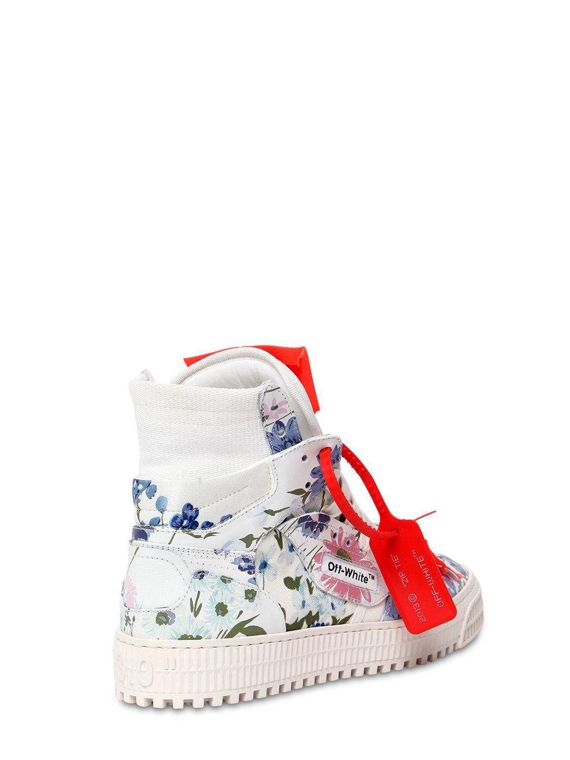OFF-WHITE 20MM LOW 3.0 FLORAL LEATHER SNEAKERS STp2pgw