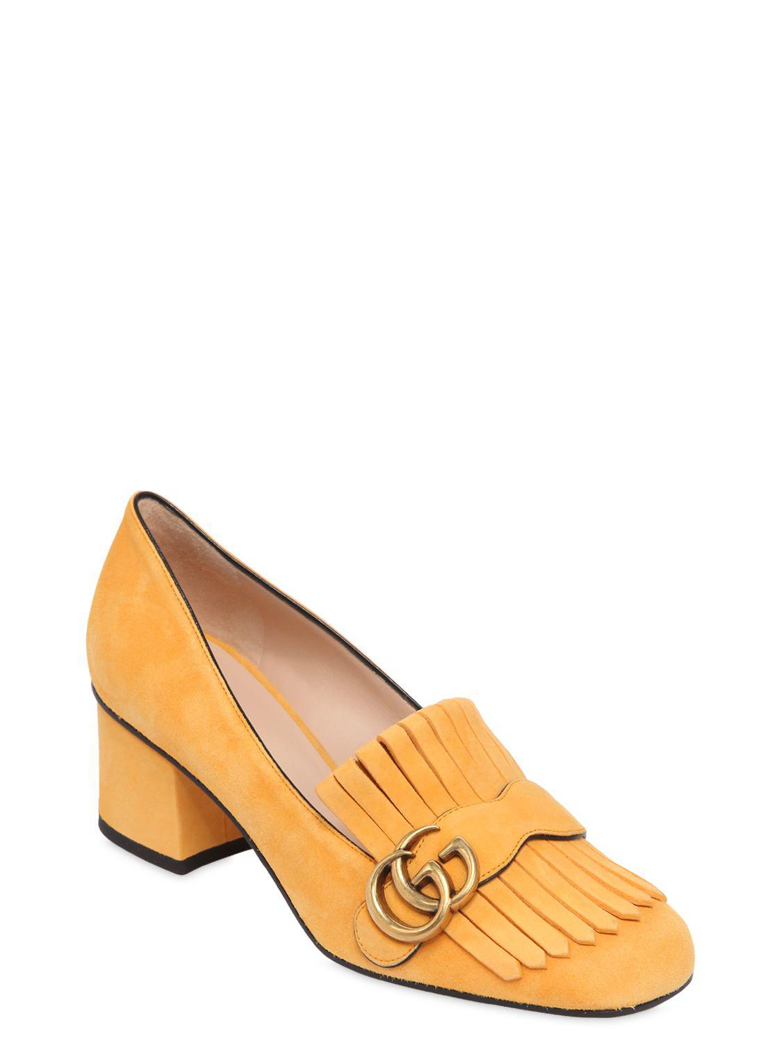 83fb3cdfde9 Lyst - Gucci 55mm Marmont Fringed Suede Pumps in Yellow