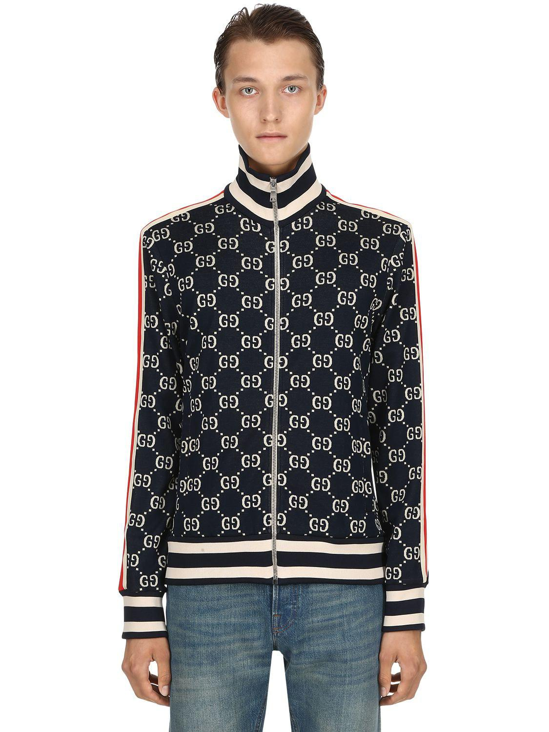 ac1ebe48f Gucci Jacquard Track Jacket in Blue for Men - Lyst