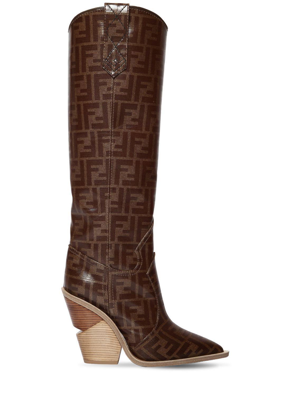 5bd913f347d Fendi 100mm Ff Print Cowboy Tall Boots in Brown - Lyst