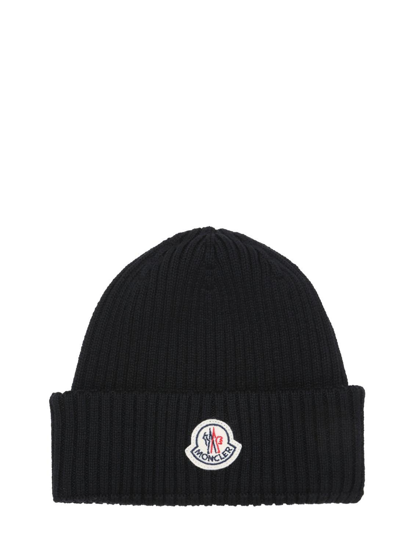 ba15e3811 Lyst - Moncler Logo Wool Rib Knit Beanie Hat in Black for Men