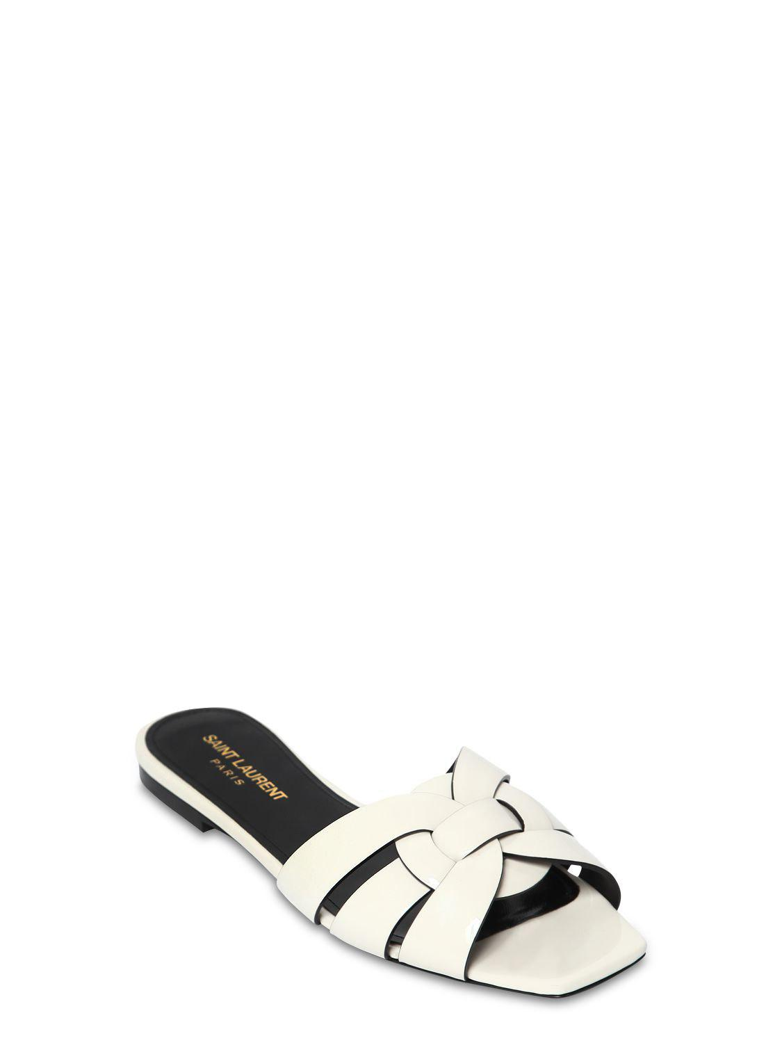 fcaa60386eb Lyst - Saint Laurent 10mm Nu Pied Patent Leather Sandals in White - Save 40%