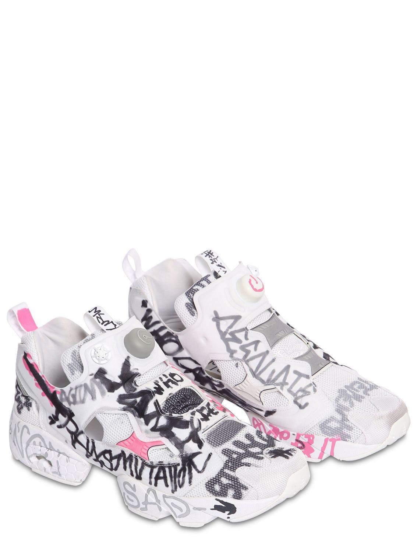 97ee5cc1d89 Vetements. Women s White Reebok Instapump Fury Printed Neoprene And Mesh  Sneakers