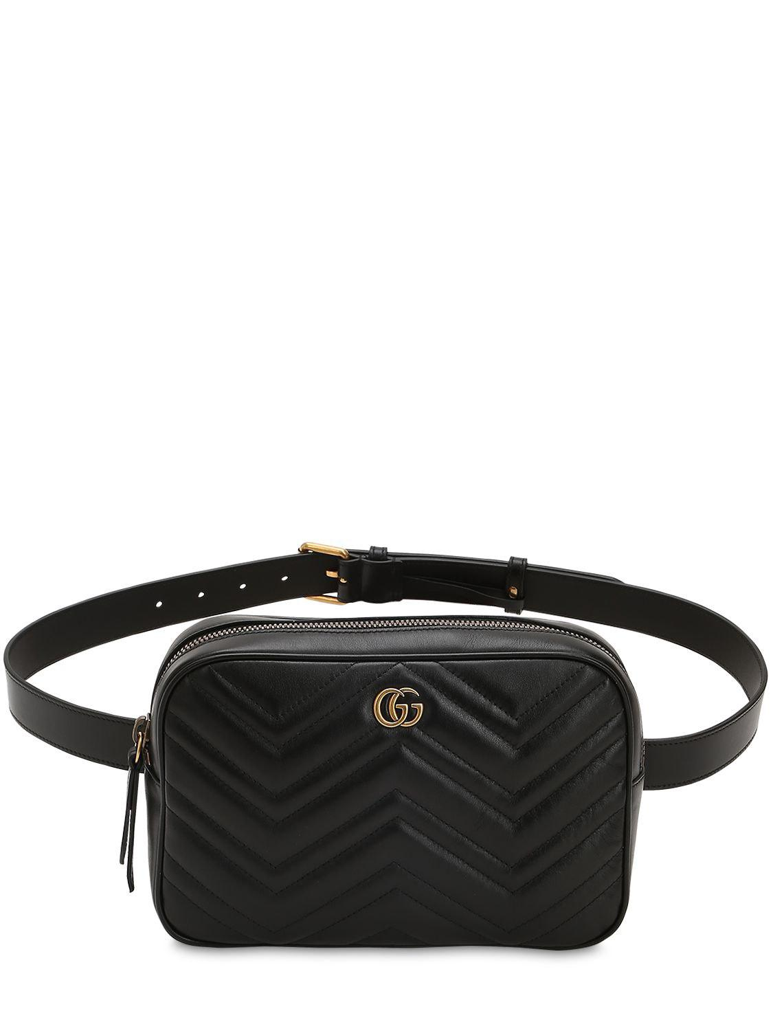 f4cbbc098e4 Gucci Marmont Quilted Leather Belt Bag in Black for Men - Save 7% - Lyst