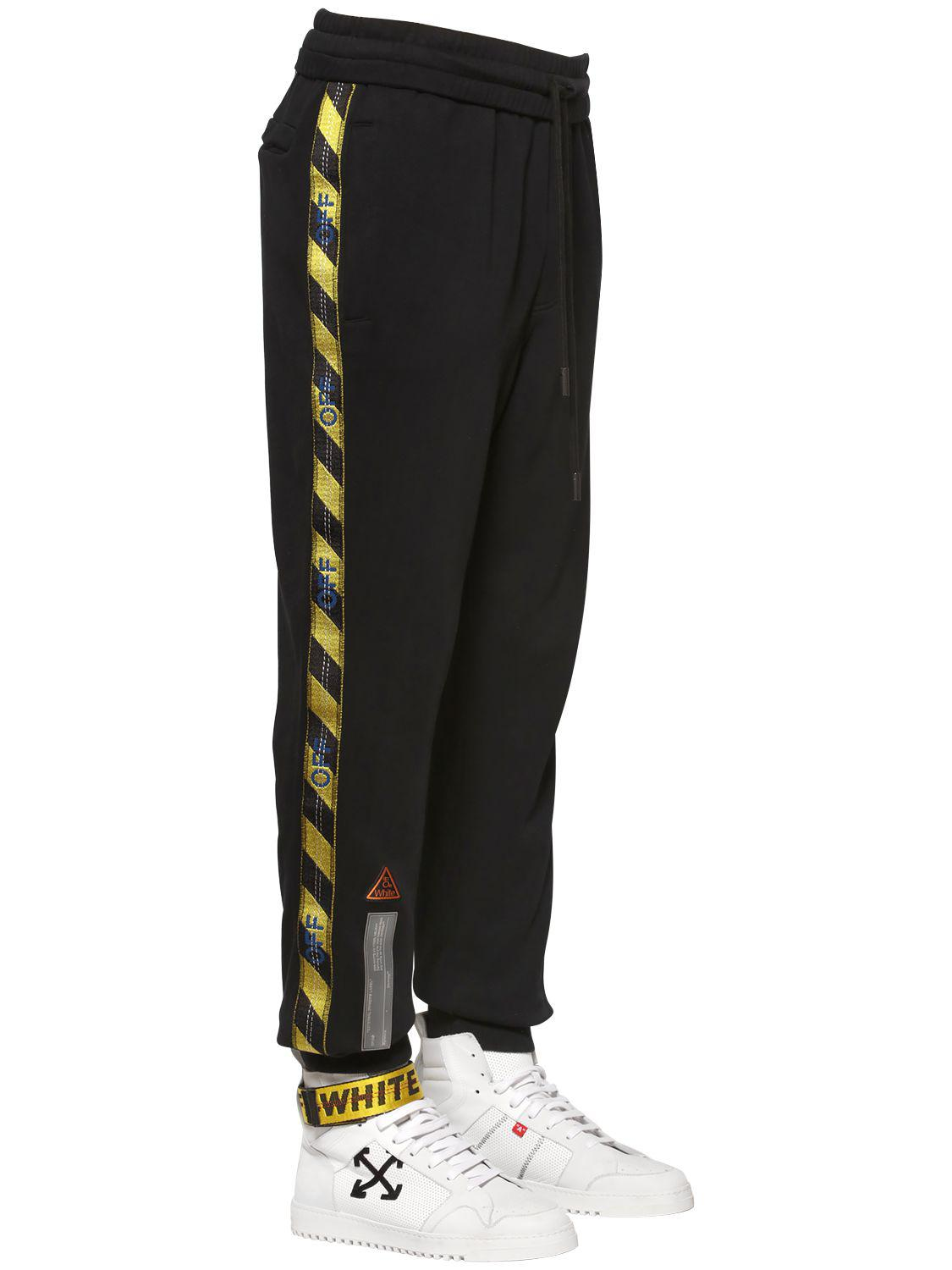 513de46e Off-White c/o Virgil Abloh Fire Line Tape Cotton Sweatpants in Black ...