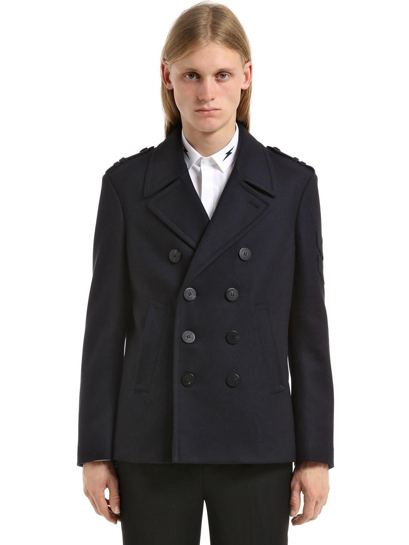 5608e662735d Neil Barrett Double Breast Wool Pea Coat W  Patches in Blue for Men ...