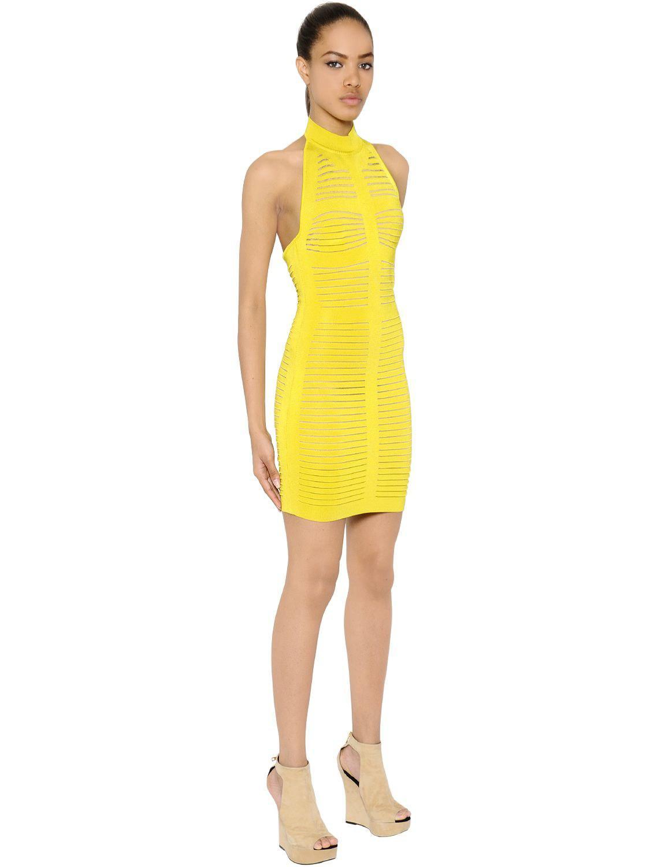 c7b22476 Balmain Halter Top Knit Dress W/ Sheer Stripes in Yellow - Lyst