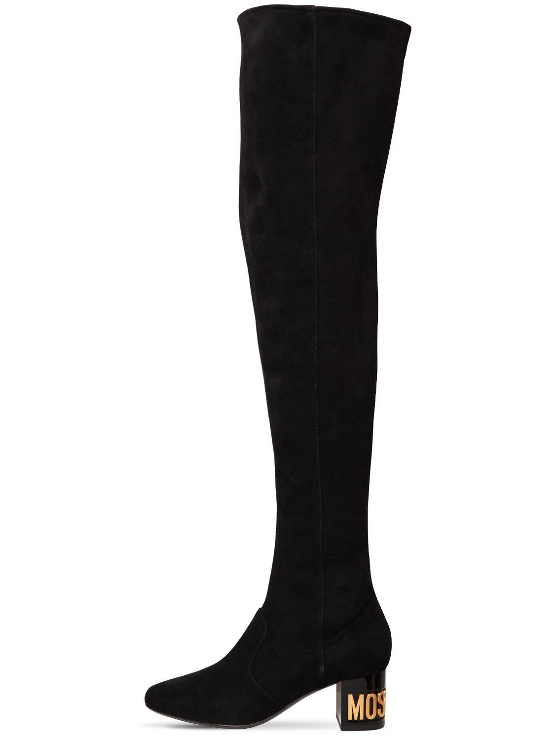 414b0fc1ec7 Moschino 50mm Logo Stretch Suede Boots in Black - Save 26% - Lyst