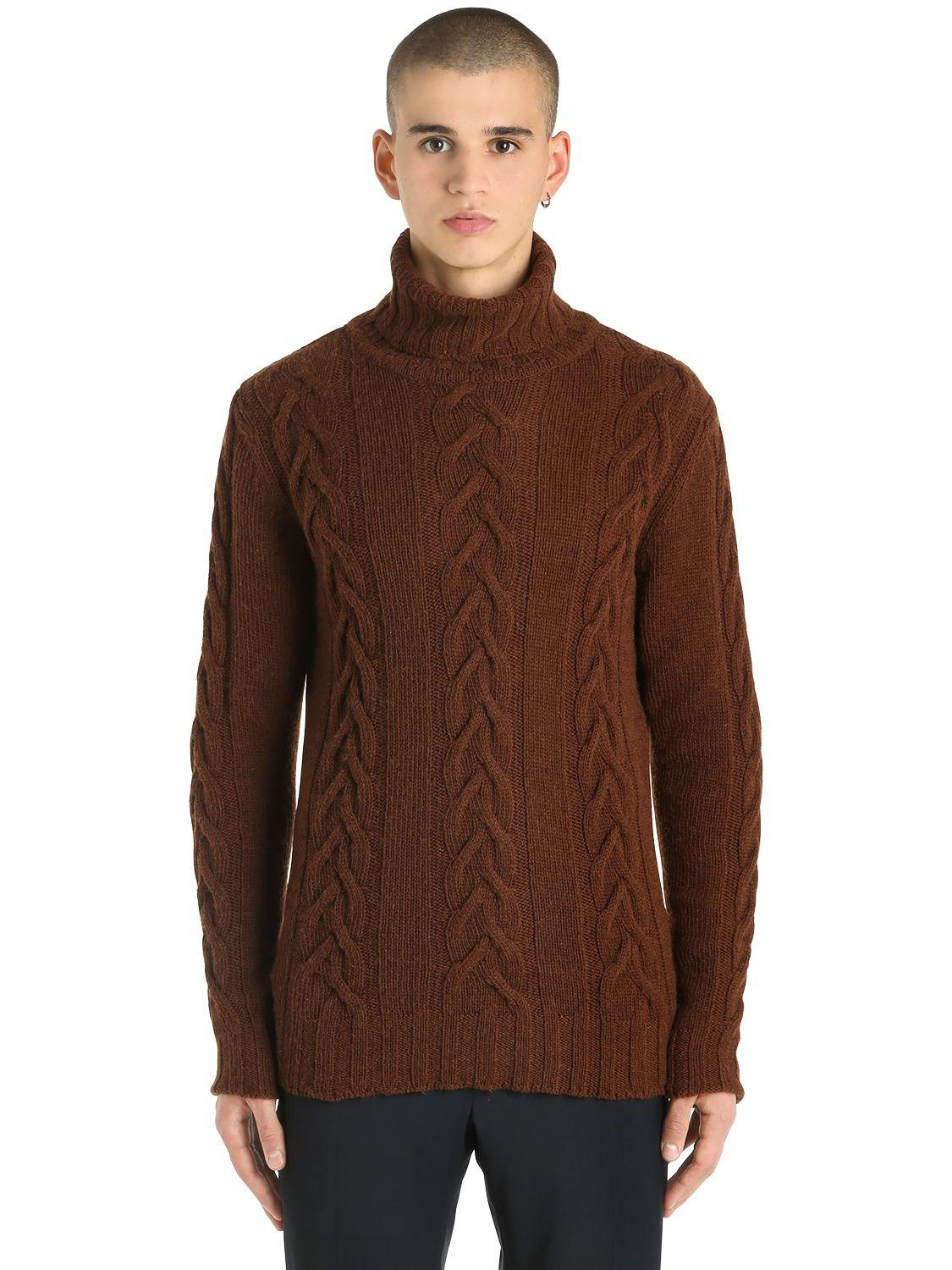Lardini Camel Wool Cable Knit Sweater in Brown for Men | Lyst