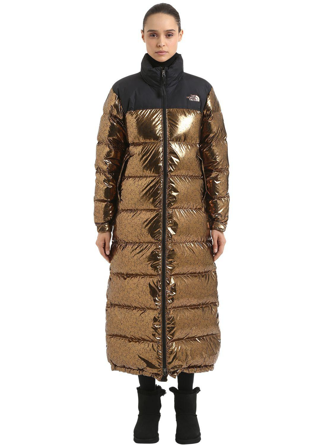 ee91bf79c The North Face Nuptse Duster Long Down Jacket in Metallic - Lyst