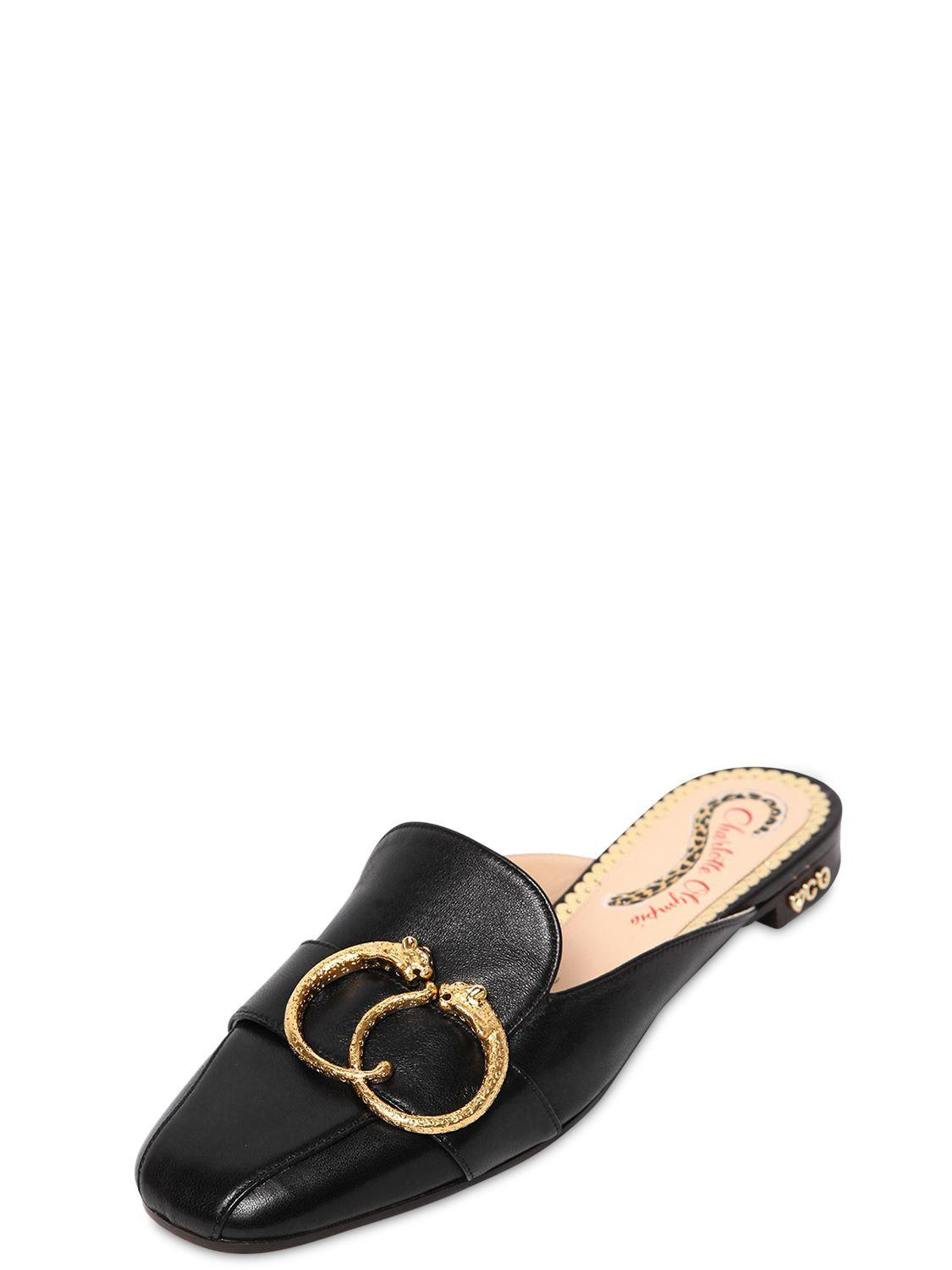 Charlotte Olympia 10MM LEATHER MULES W/ BUCKLE Mwor1gR