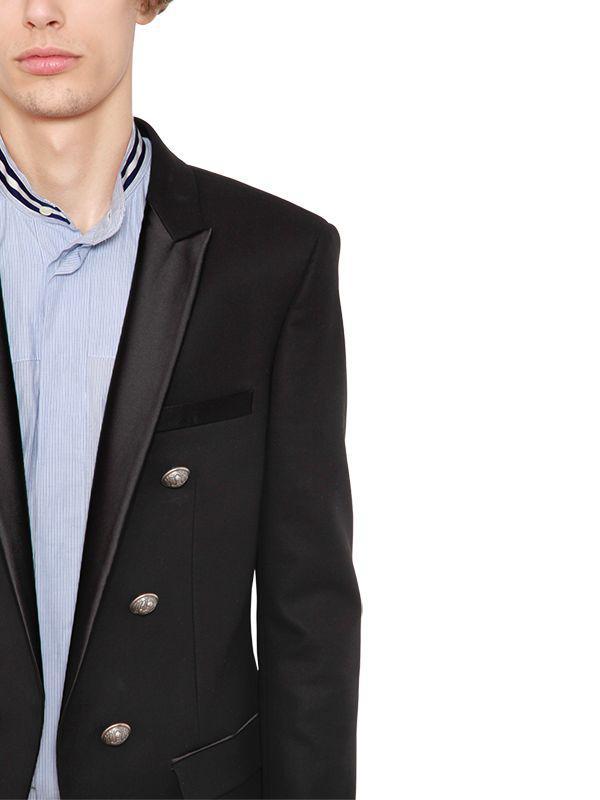 Balmain 6 Button Wool Jacket W/ Satin Lapels in Black for
