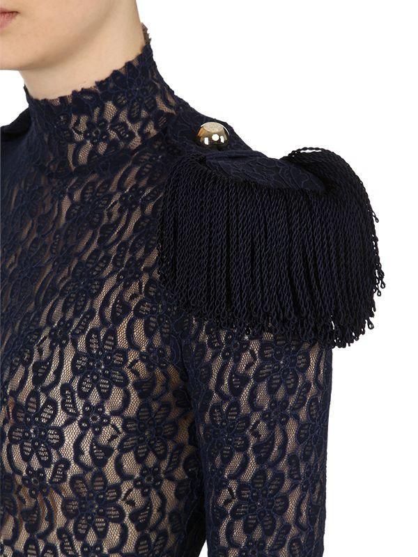 caa3988416 Lyst - Nina Ricci Lace Bodysuit W  Military Epaulettes in Blue - Save 30%