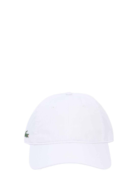bae32b10 Lacoste Logo Detail Canvas Baseball Hat in White for Men - Lyst