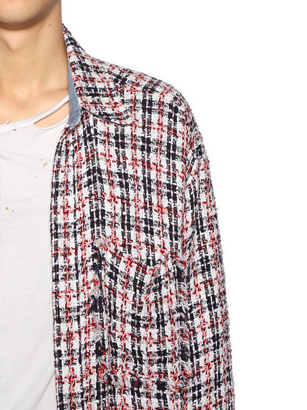 807ab224b97 Lyst - Faith Connexion Oversized Raw Cut Tweed Shirt in Red for Men