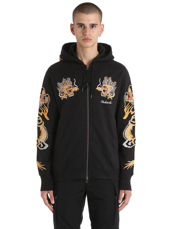 d6bac72b3 Maharishi - Black Dragon Embroidered Zip Jersey Sweatshirt for Men - Lyst.  View fullscreen