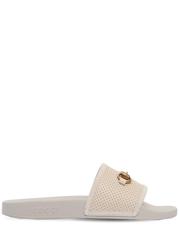 c600cbaea2ea Lyst - Gucci Pursuite Horsebit Leather Slide Sandals in White