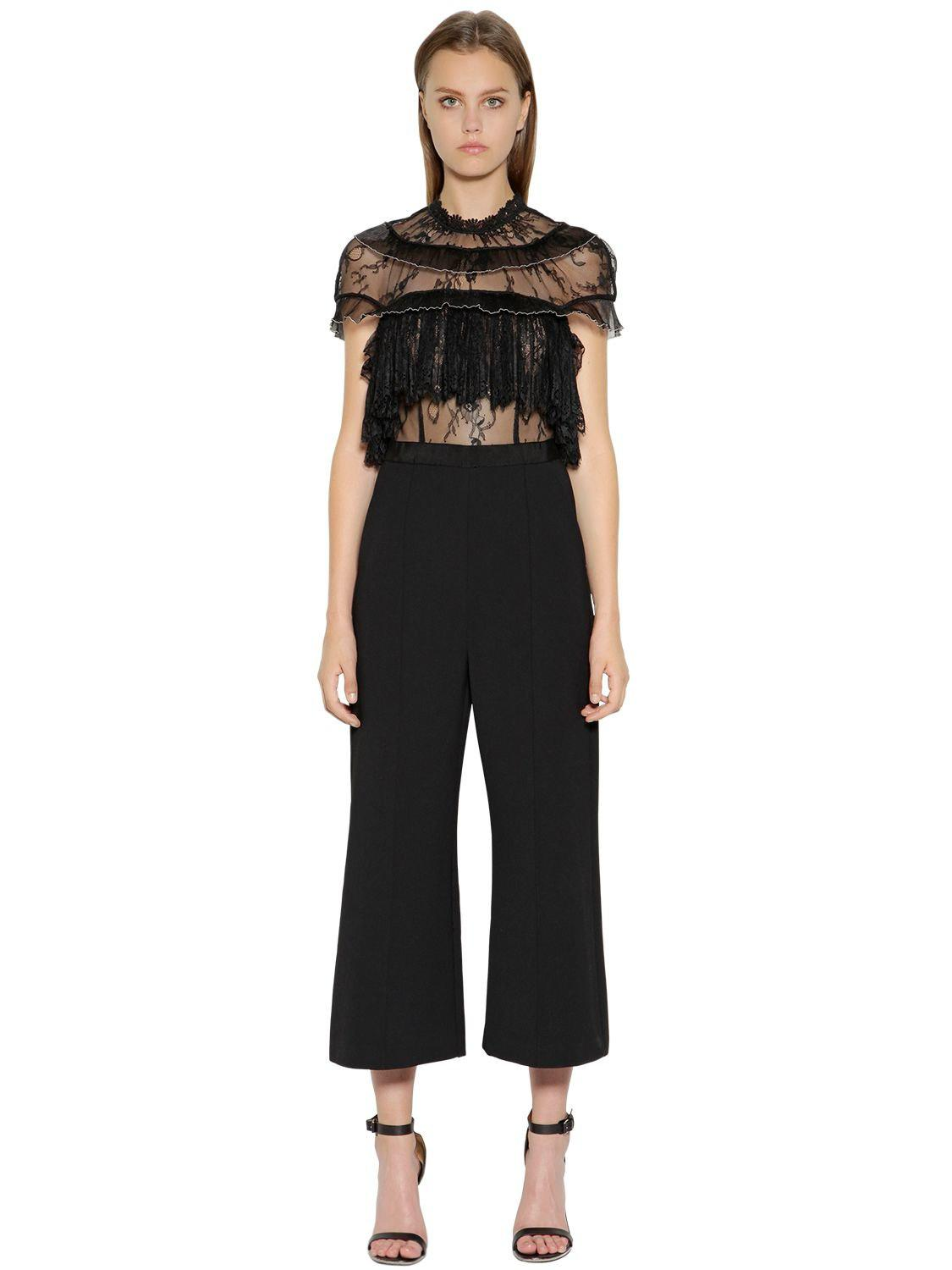 Cropped Ruffled Guipure Lace And Crepe Jumpsuit - Black Self Portrait oESPpIVUx8