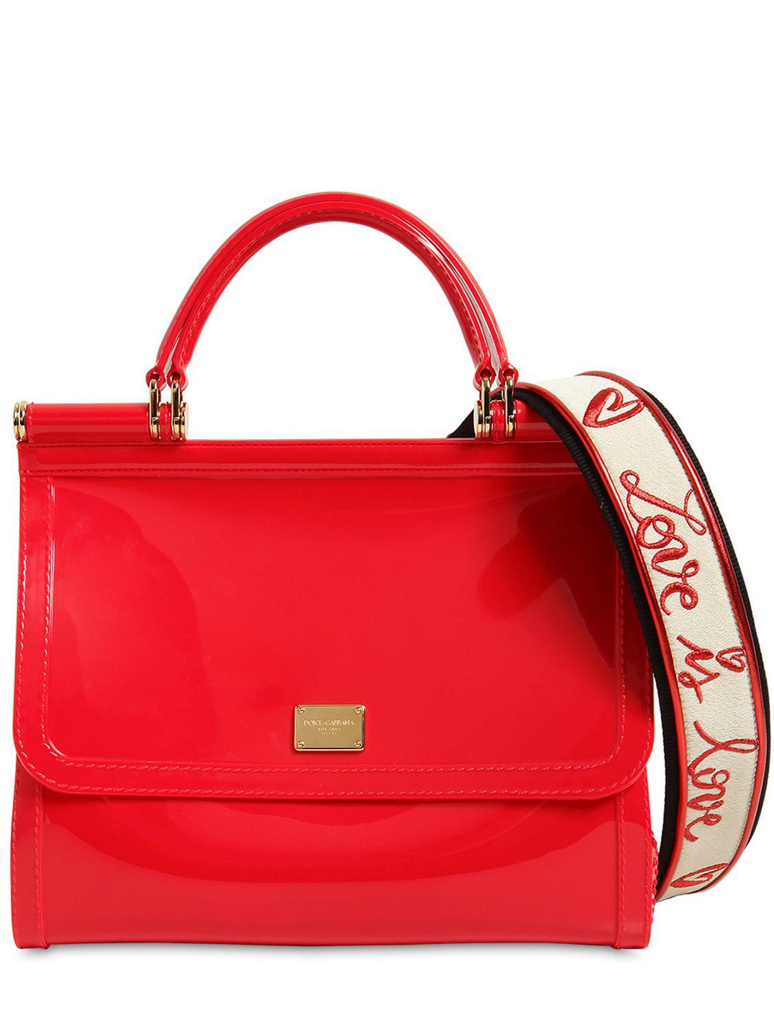 15c5731b8e Lyst - Dolce   Gabbana Sicily Faux Patent Leather Bag in Red