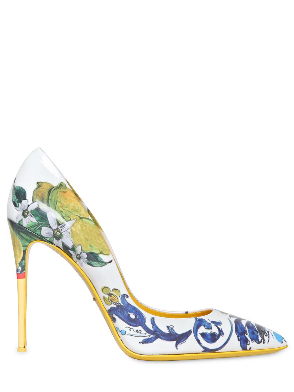 55e91233c2f3 Lyst - Dolce   Gabbana 105mm Kate Ceramica Lemon Patent Pumps in White