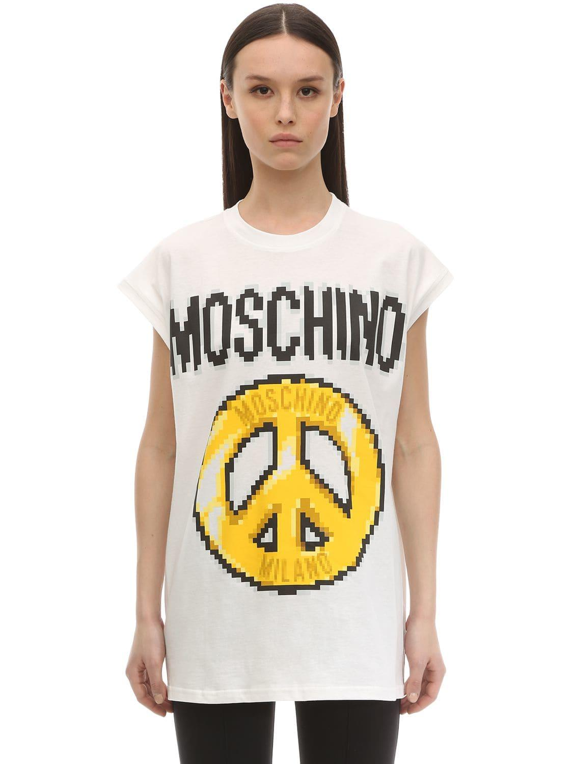 c5a886534a9ed Moschino - White Sleeveless Printed Cotton Jersey T-shirt - Lyst. View  fullscreen