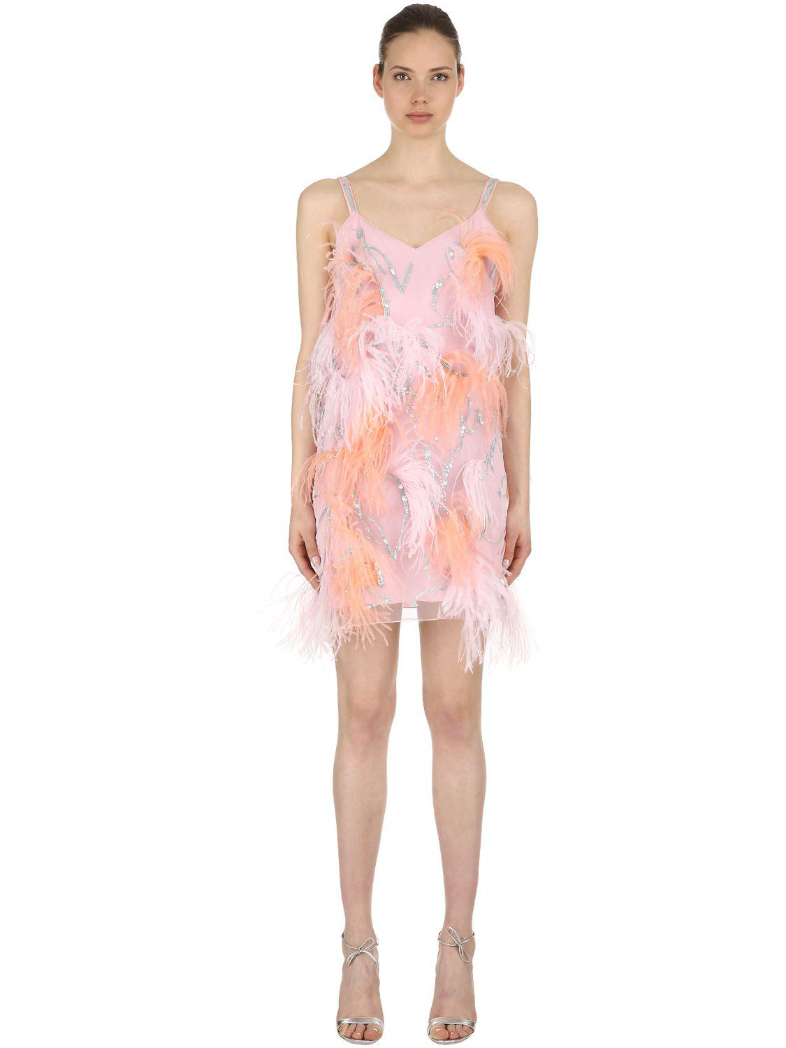 c6a93216b5 Nina Ricci Tulle Dress W/ Sequins & Feathers in Pink - Lyst