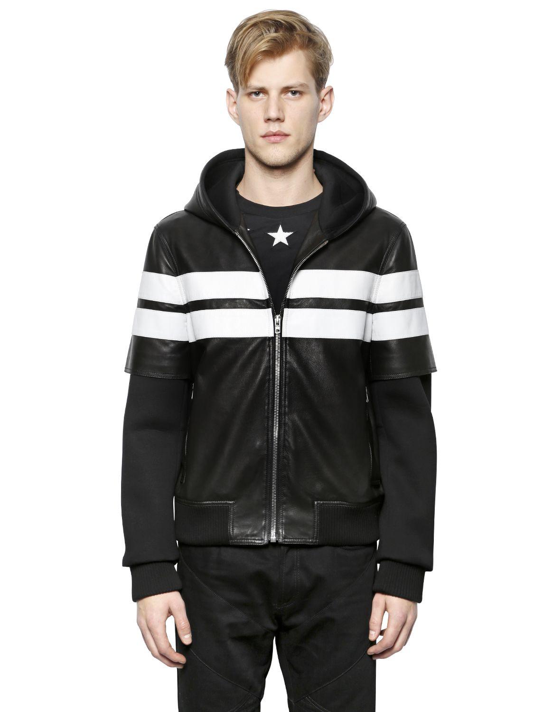 Leather jacket aesthetic - Givenchy Hooded Nappa Leather Neoprene Jacket Lyst
