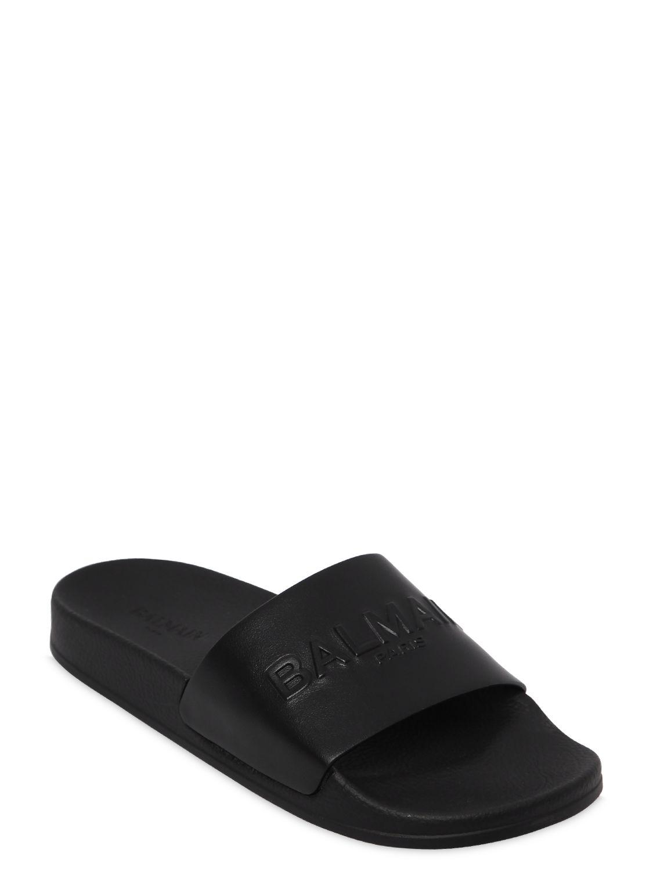 ec9ef91c474 Balmain - Black Calypso Logo Leather Slide Sandals - Lyst. View fullscreen