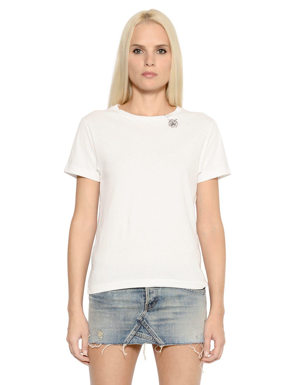 Lyst saint laurent tiger print detail cotton jersey t for Saint laurent shirt womens