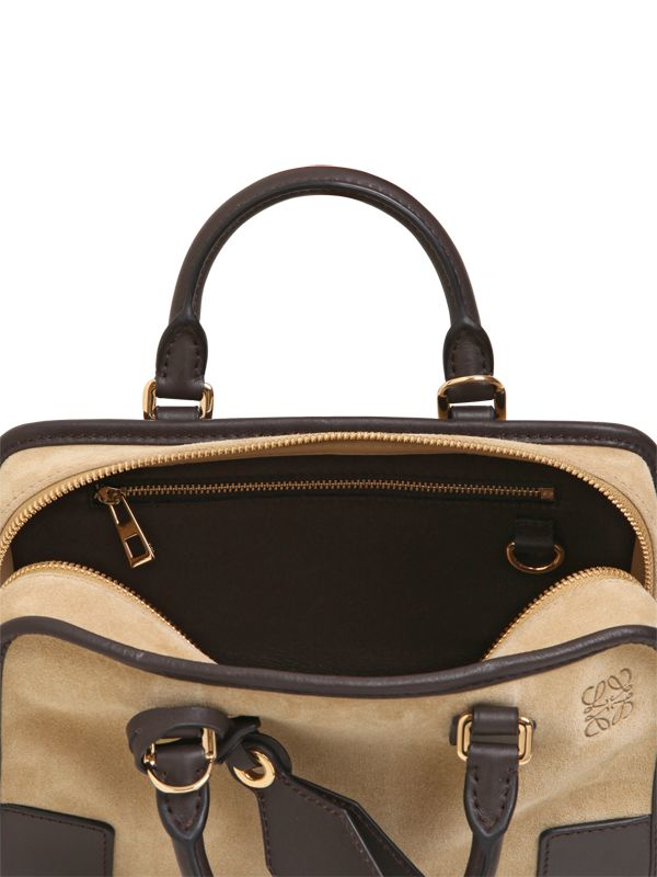 Loewe Mini Amazona Suede Tote Bag in Black