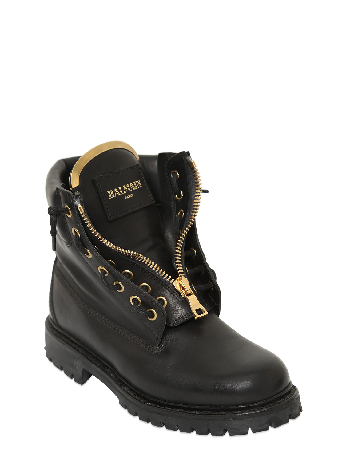 Balmain Taiga Leather Ankle Boots In Black For Men Lyst