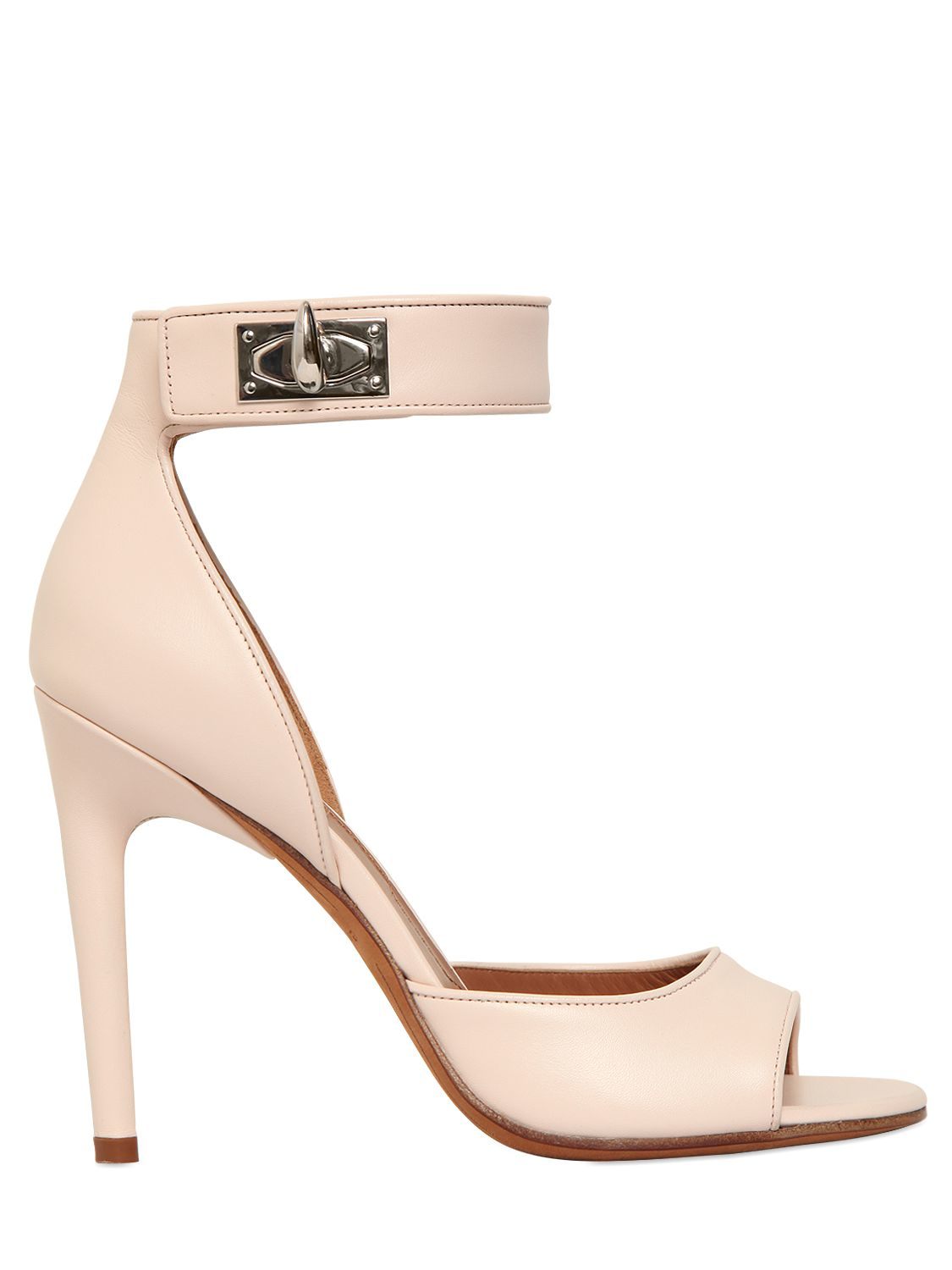39fe5de4a94 Lyst - Givenchy 105mm Clara Shark Lock Leather Sandals in Pink
