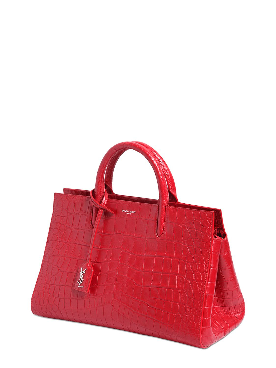 54dd47a6fa Lyst - Saint Laurent Small Rive Gauche Croc-Embossed Leather Tote Bag in Red