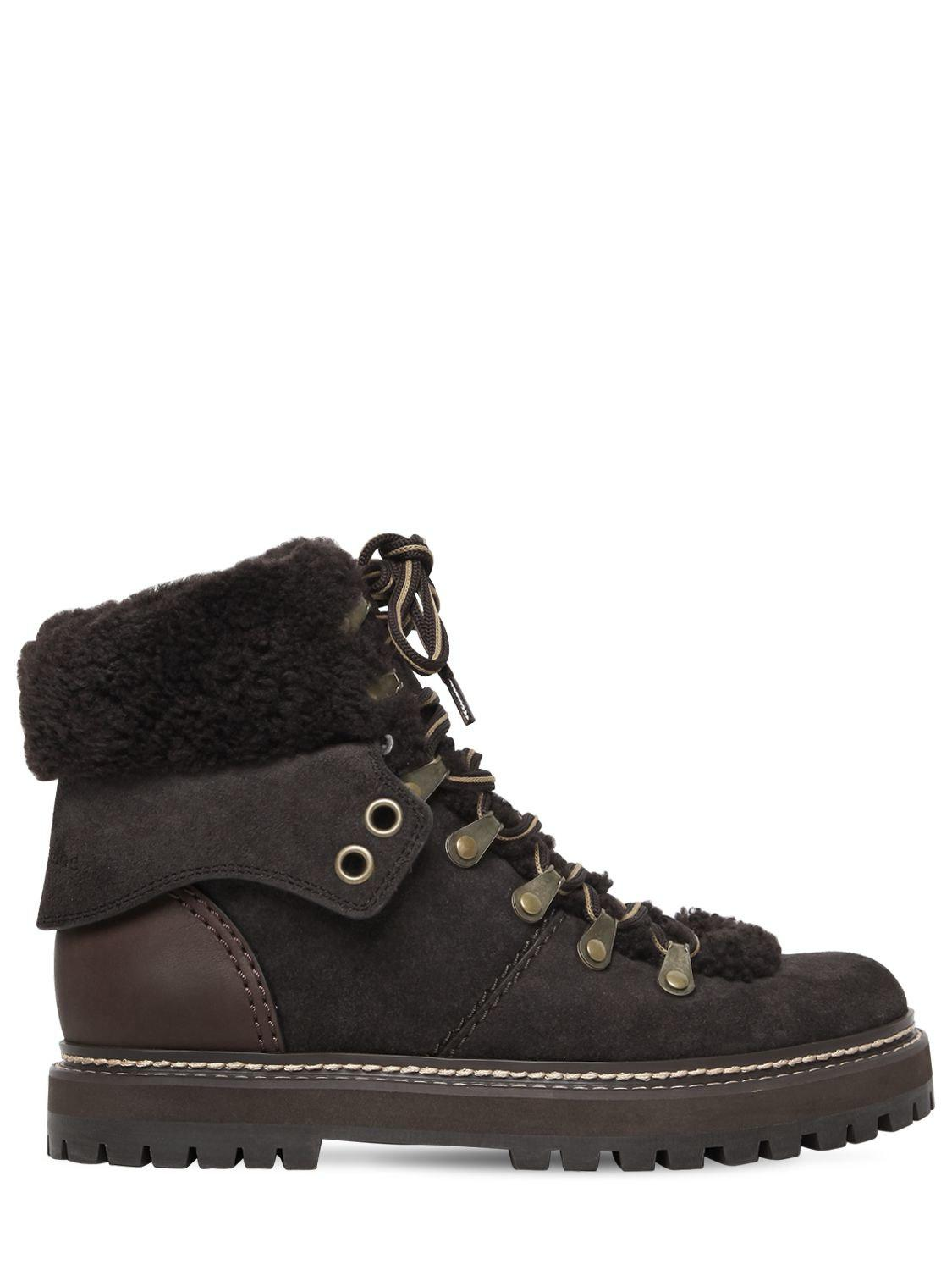 Pre Order Sale Online Free Shipping Websites Chloé 20MM SUEDE & SHEARLING HIKING BOOTS Qk2zUMZ