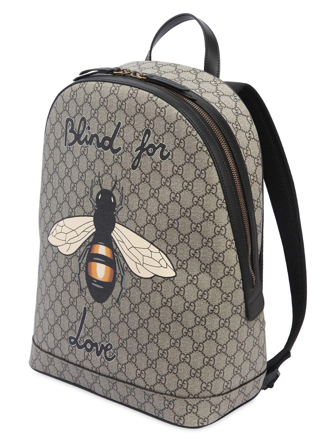 Lyst - Gucci Bee Printed Gg Supreme Backpack in Natural for Men