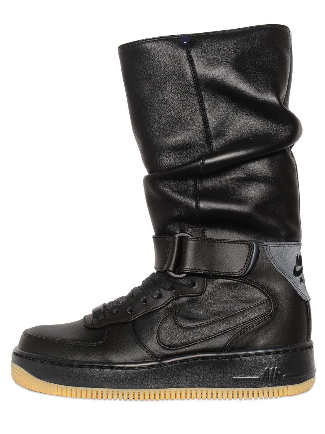 nike upstep warrior leather sneaker boots in black for