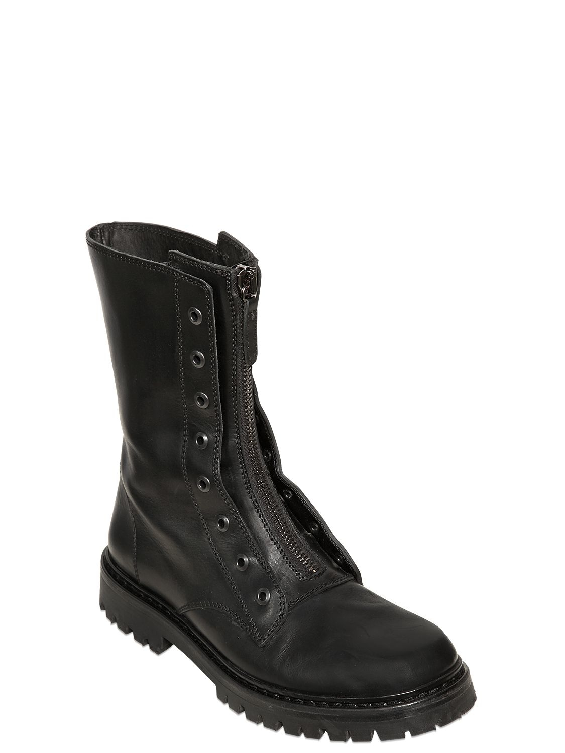 Lyst Diesel Black Gold Zip Smooth Leather Boots In Black