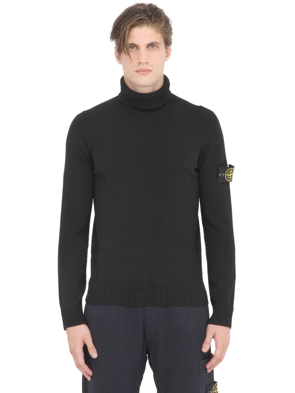 stone island wool blend turtleneck sweater in black for men lyst. Black Bedroom Furniture Sets. Home Design Ideas