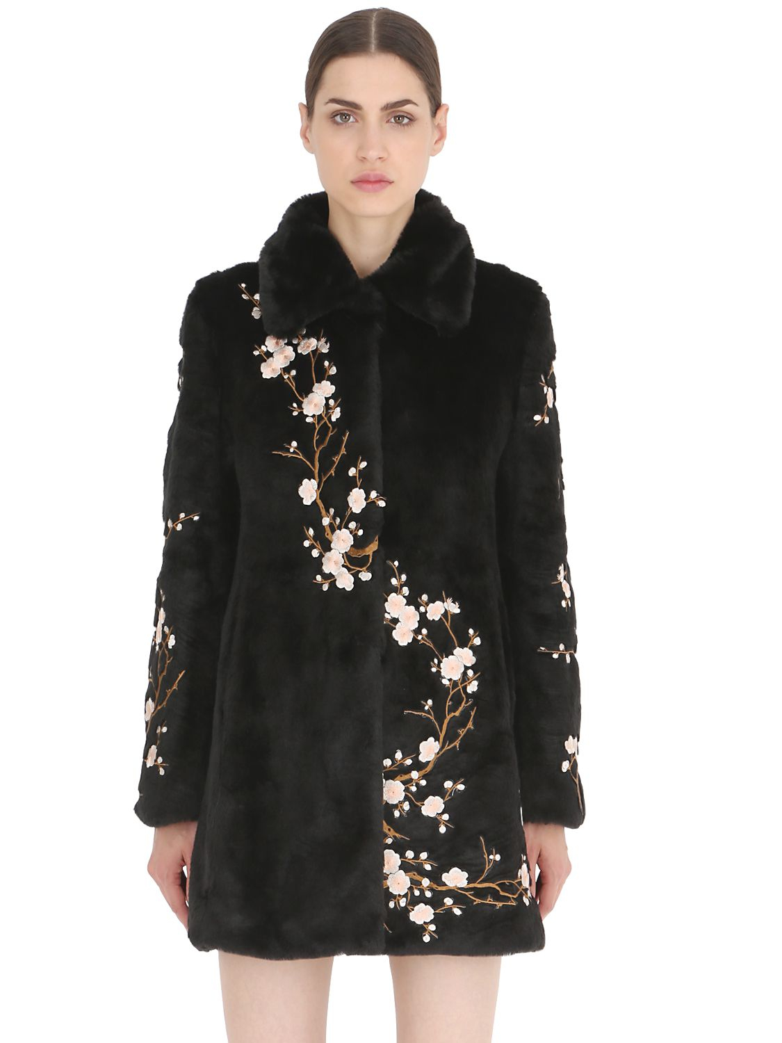 Lyst ainea floral embroidered faux fur coat in black