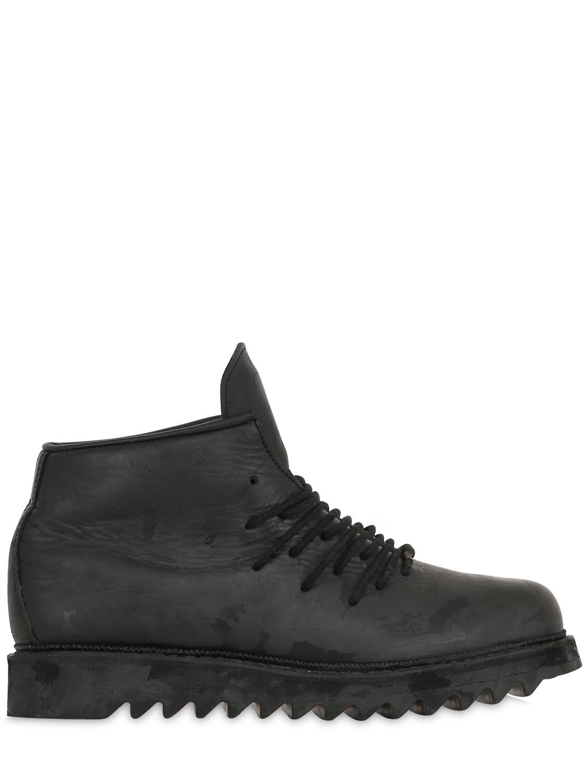 boris bidjan saberi 11 coated leather ankle boots in black