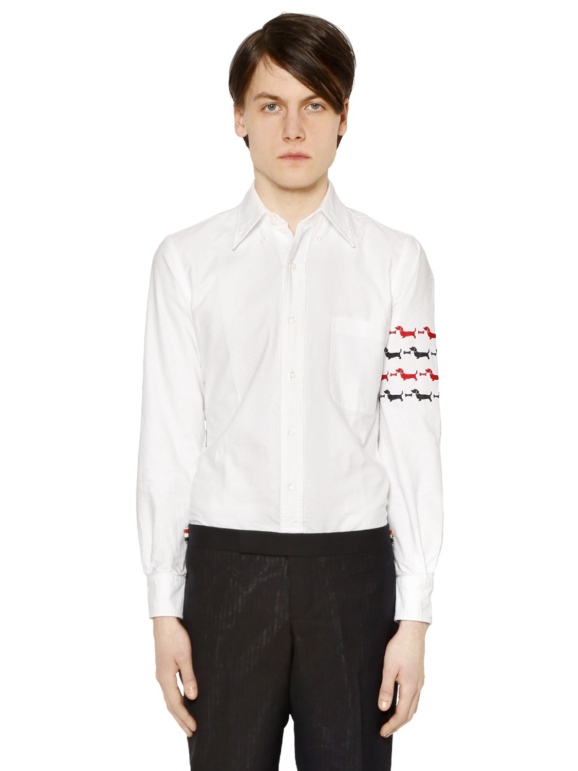 Thom browne dogs arm embroidery oxford cotton shirt in for Thom browne white shirt
