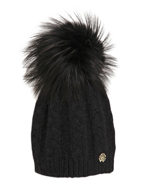 c0ab1c52aab23 Lyst - Roberto Cavalli Wool Blend Hat W  Fox Fur Pompom in Black
