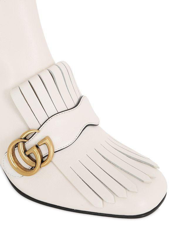 13ad426e6fe Lyst - Gucci 75mm Marmont Fringed Leather Boots in White
