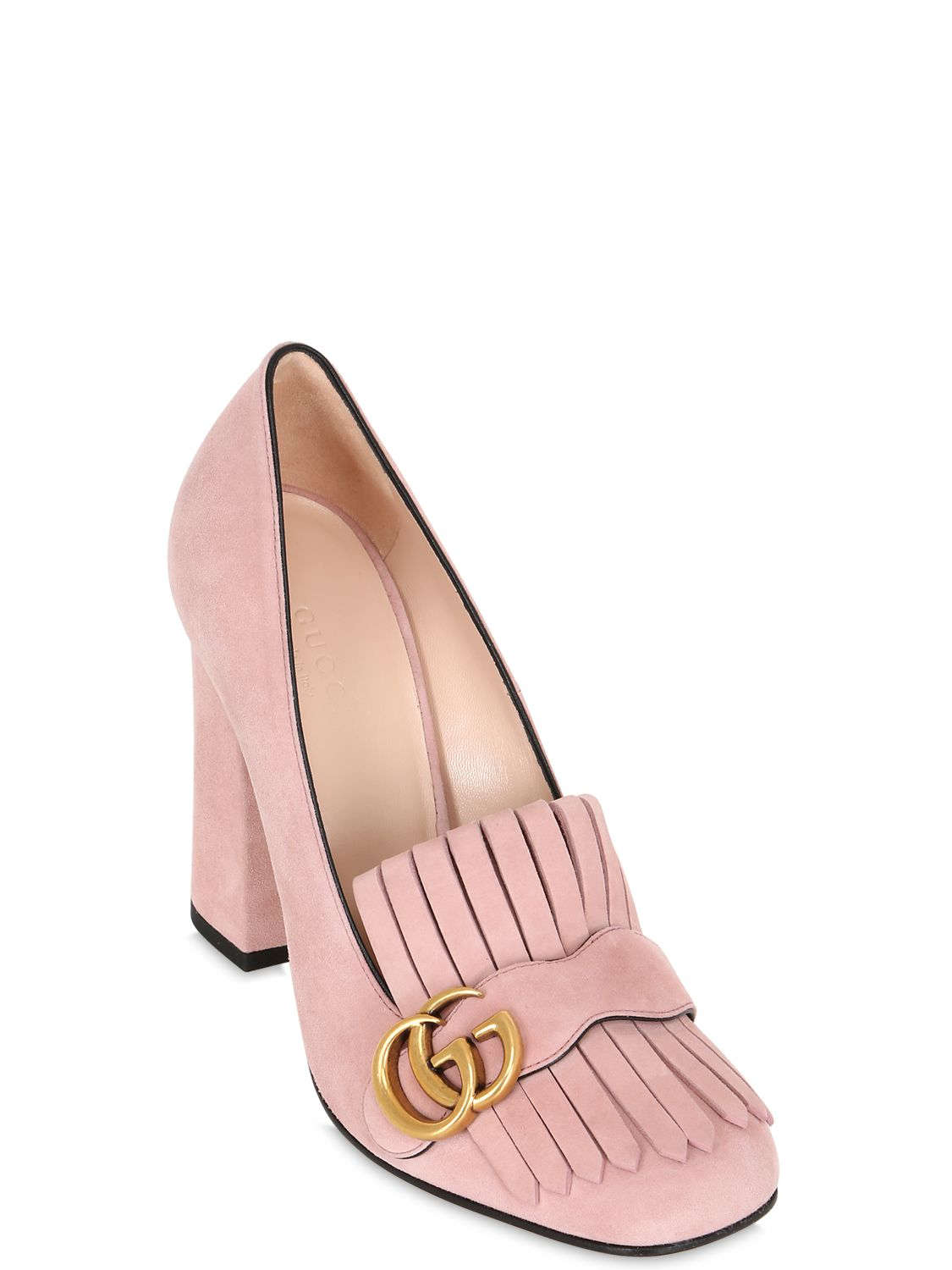 5cb2cef81d6 Gucci 105mm Marmont Fringed Suede Pumps in Pink - Lyst