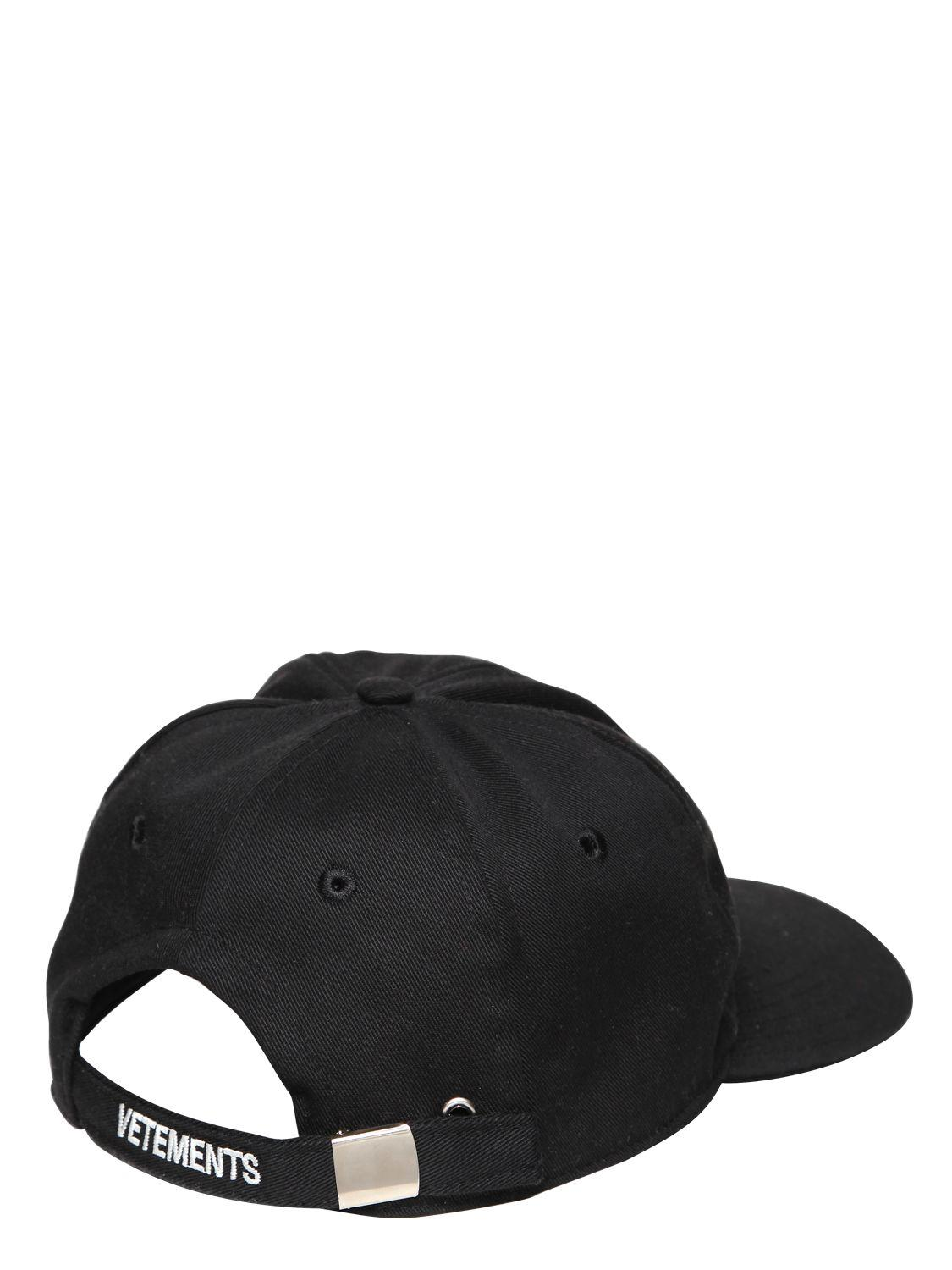 Lyst - Vetements Big Daddy Embroidered Hat in Black for Men ad275f87791