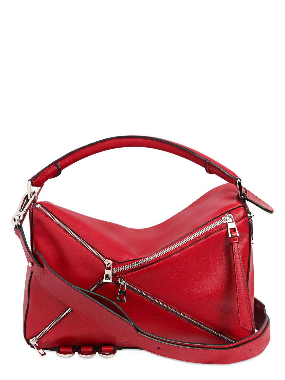 Loewe Medium Puzzle Zip Leather Top Handle Bag In Red Lyst
