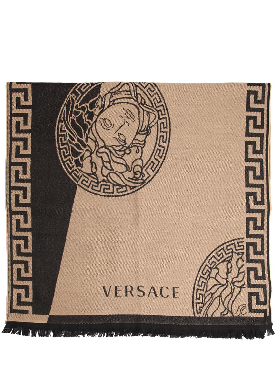 versace two tone fine wool jacquard knit scarf in natural for men camel lyst. Black Bedroom Furniture Sets. Home Design Ideas