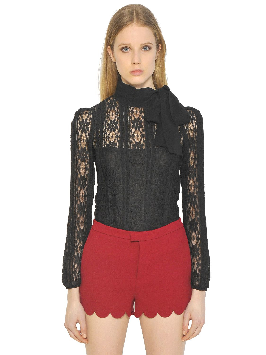 Lyst - Red valentino Techno Jersey Lace Top in Black