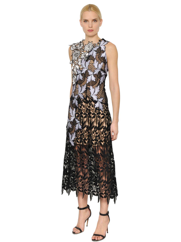 Self Portrait Lilac Patchwork Lace Midi Dress In Black Lyst